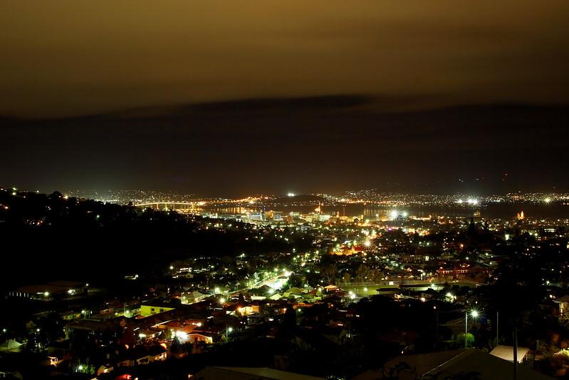 Hobart at night from Huon Road.  South Hobart, Tasmania.
