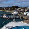 Cruise ship docking at the Port of Tauranga, New Zealand.