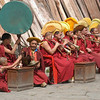 """Sept 21-30, 2004, Arunachal Pradesh, India<br /> Monks accompany the monastic dances with a cacaphony of horns, oboes and drums.<br /> Arunachal Pradesh was formally a southern province of Tibet, annexed by the  British 1914 and remains part of India, though the region was the focal point of the Sino-India war of 1962. The region affords a unique insight into the Tibetan Bhuddist tradition, unhindered by the chinese cultural revolution and repression  which exists across the Border a hundred kilometers away.<br /> When the 14th Dalai Lama fled from Tibet, following the failure of a rebellion against the Chinese central government, he crossed into India on 30 March 1959 and spent some days resting at Tawang Monastery before reaching Tezpur in Assam on 18 April 1959<br /> <a href=""""http://en.wikipedia.org/wiki/Tawang_Monastery"""">http://en.wikipedia.org/wiki/Tawang_Monastery</a><br /> <a href=""""http://en.wikipedia.org/wiki/Tawang_district"""">http://en.wikipedia.org/wiki/Tawang_district</a><br /> <a href=""""http://tawangmonastery.org/"""">http://tawangmonastery.org/</a><br /> (Credit Image: © Chris Kralik/KEYSTONE Press)"""