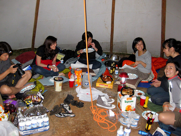 Took us a couple hours to get to the campsite and searching for our teepee in the dark. Yes, we were super hungry by the time we settled in our teepee! Had roast chicken from Costco as our dinner - genius (didnt have to cook or anything, just ate it right away - perfect for starving ppl like us)!