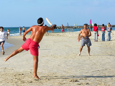 Israel Tel Aviv, Beach Matkot is Israeli beach tennis without the court, rules, or net.