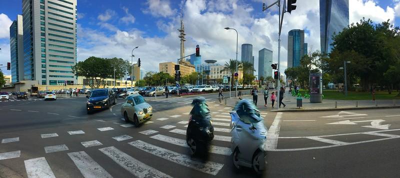 Walking to Tel Aviv Art Museum: Azrieli Sarona Tower at far right