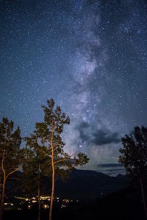 Milky Way Southern exposure.  Telluride Valley (San Miguel River Valley) below.