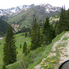Having left the paved Million Dollar Highway five or so miles back, the top of Ophir Pass is in the distance.