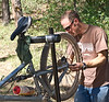 Not a short day for the guides.<br /> We only rode 17 miles, so Noah takes some time to clean and maintain the bikes.