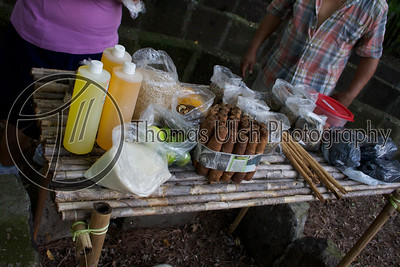 These are all the ceremonial offerings to be burned at the pre-Temascal ceremony. Tobacco, oils, herbs and spices. Costa Azul, Sonsonate, El Salvador.