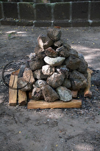 After the first 20 rocks start to cool, 20 more are brought in.