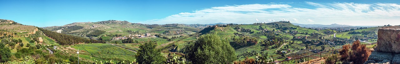 View of Agrigento's countryside in Sicily.