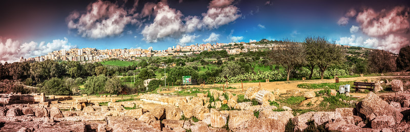 View of the town of Agrigento from the Temples Valley