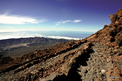 View from Mount Teide overlooking La Gomera Island.