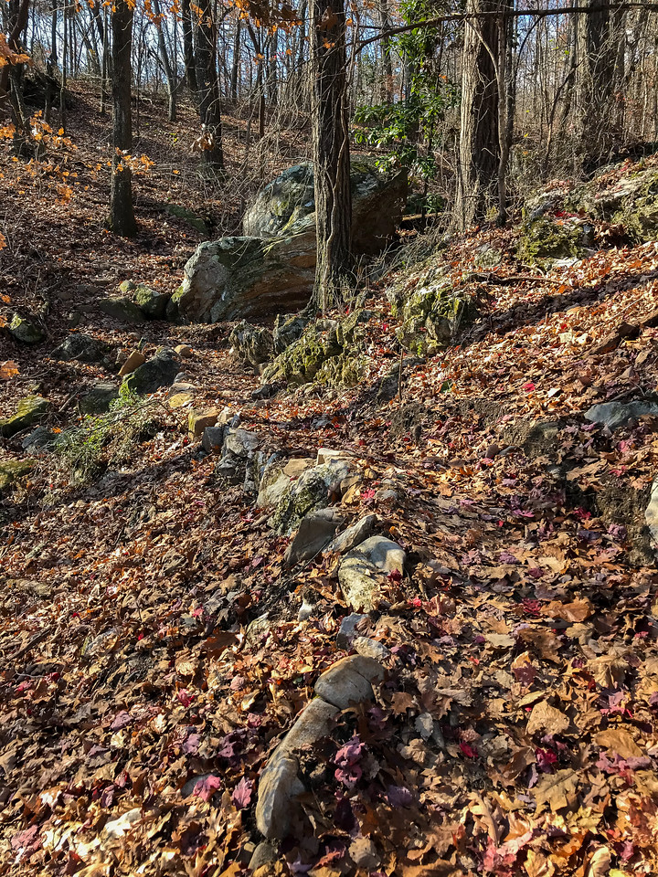 Trail with boulders and rocks.