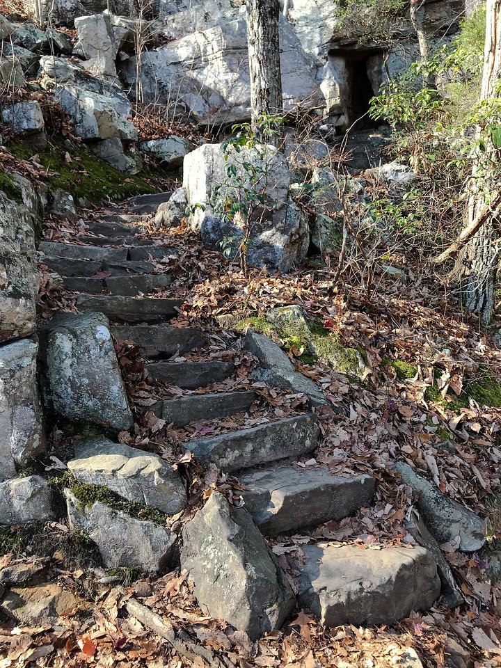 Rock steps on a path.