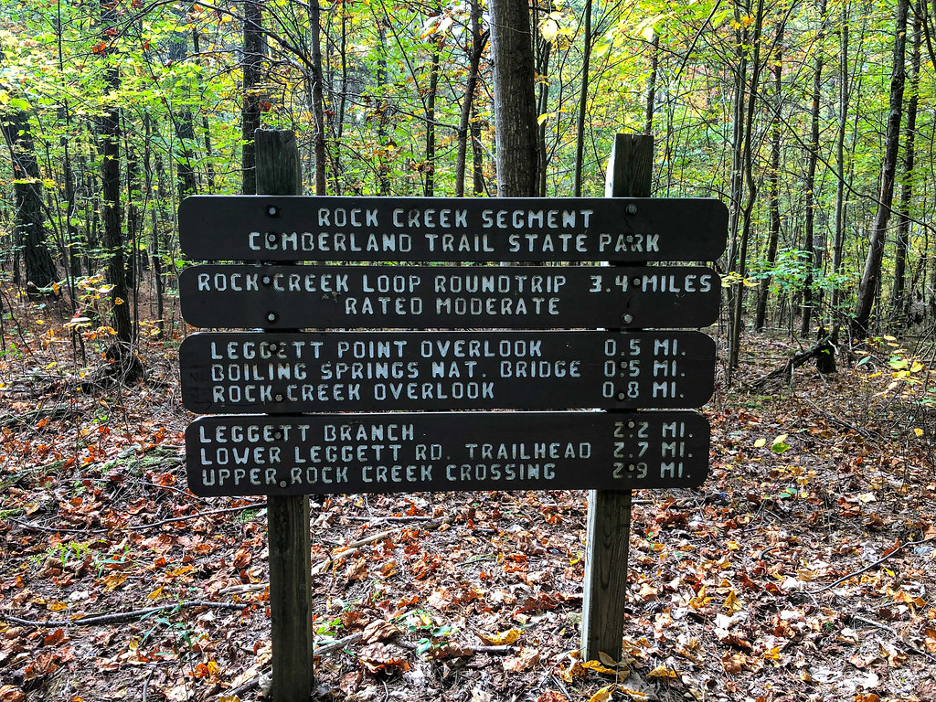 Collection of signs with all the trail segments from the Cumberland Trail Rock Creek Segment.