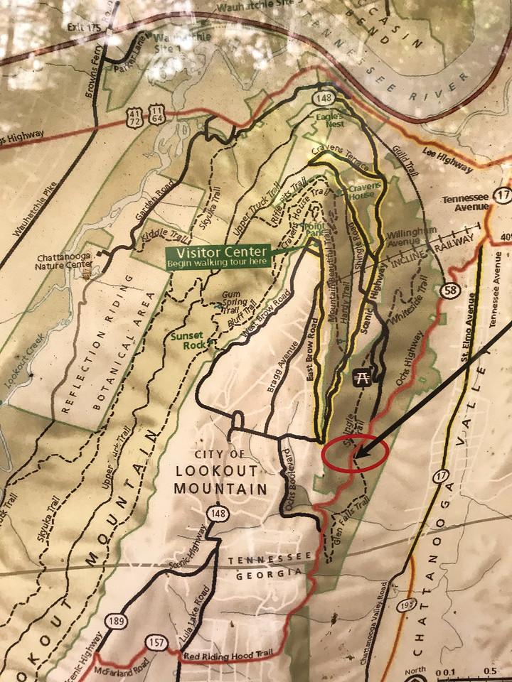 Map of glen falls trail.