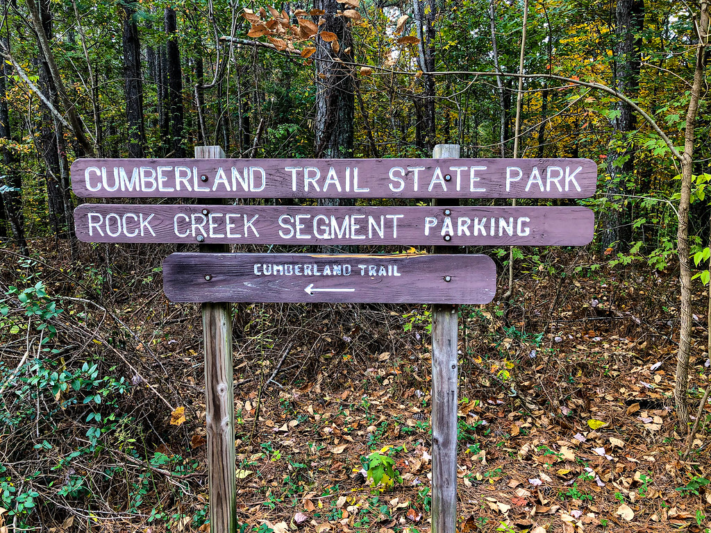 Cumberland trail signs and Rock Creek Segment sign.