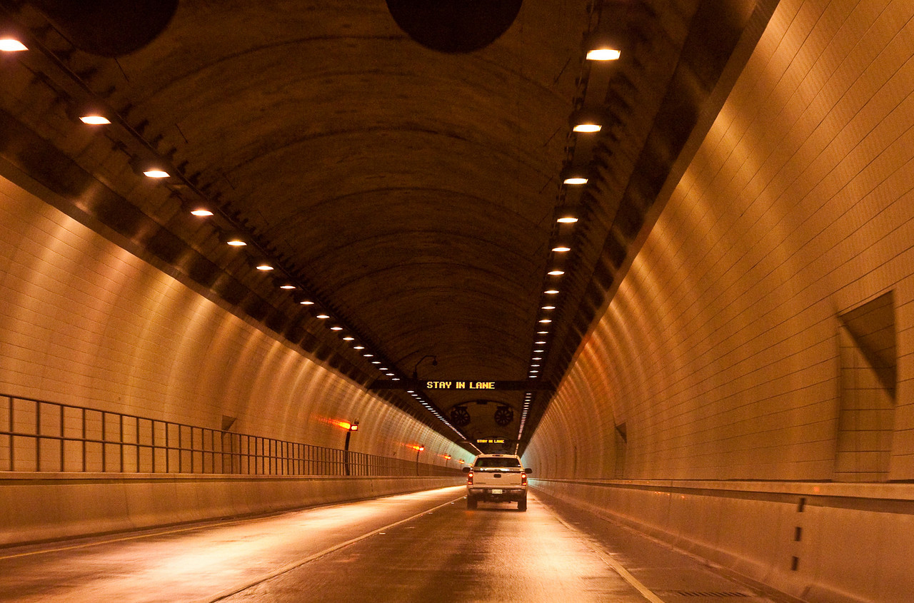 Inside Cumberland Gap Tunnel heading to Kentucky.