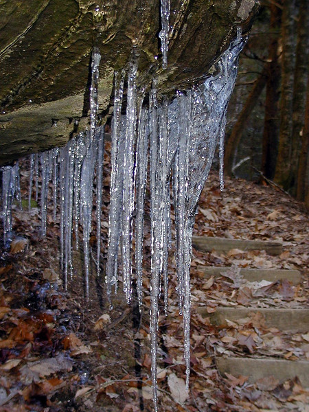 Closeup of icicles