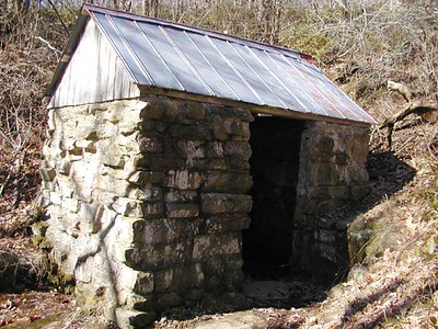 Ancient spring house.. the water source for two homes in the past. Probably their source of refrigeration as well.  It is the sole water source up here for this segment of the Cumberland Trail.