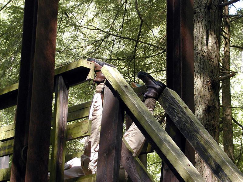 Pete takes a nap<br /> Piney River Trail suspension bridge<br /> 9/13/08