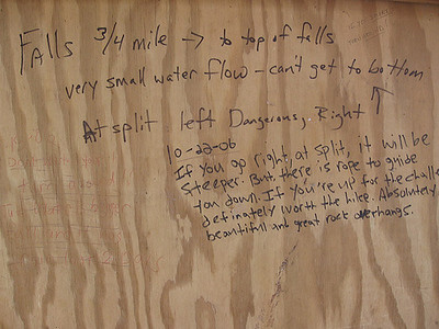 Info Kiosk at Piney Falls Pocket Wilderness. Hand written directions.