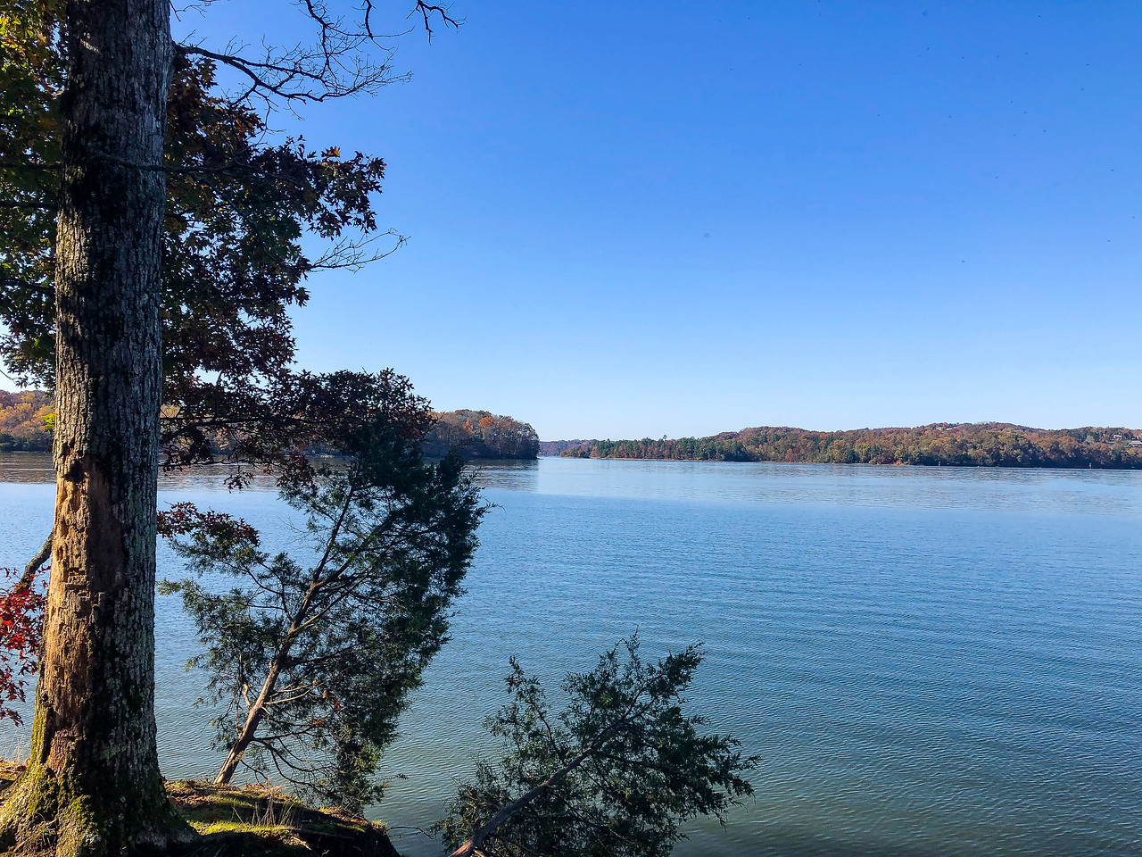 The lake with shorelines in the distance.
