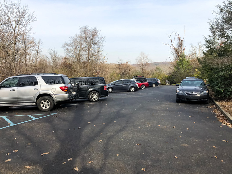 A parking lot at the trailhead.
