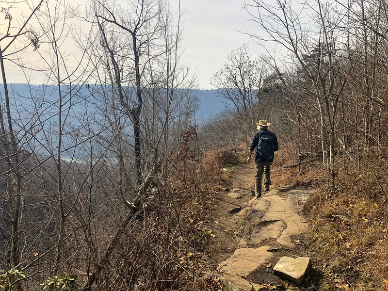 A man is hiking the bluff trail towards the point with the river in the distance.