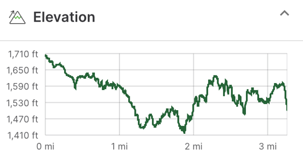 Graph showing elevation of hike.