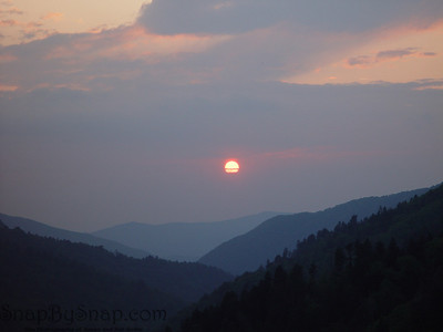 The sun setting over the Great Smoky Mountains National Park.