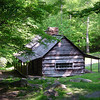 A rustic settelers cabin hidden in the forest in the Great Smoky Mountains National Park.