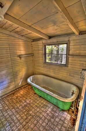 Bathtub inside abandoned cabin in Elkmont, TN