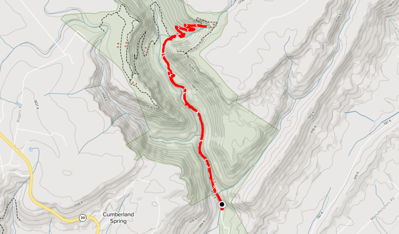 Map showing the route taken for the Laurel Falls Hike.