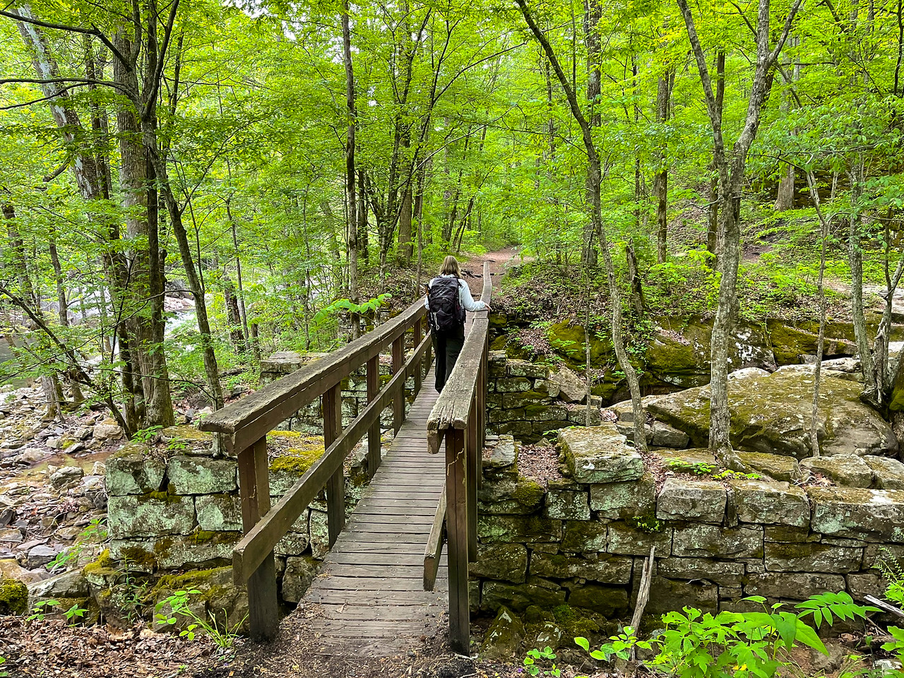 A wooden bridge crossing a small stream.