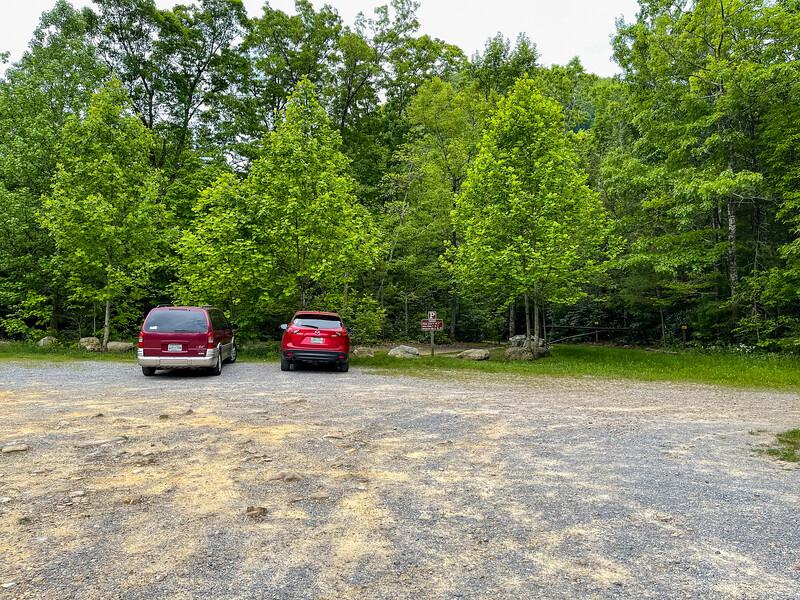 Parking lot for Margarette Falls Trail.