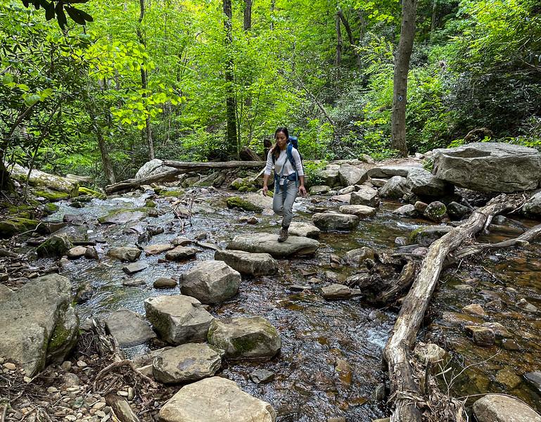 Girl crossing rocks across a creek.