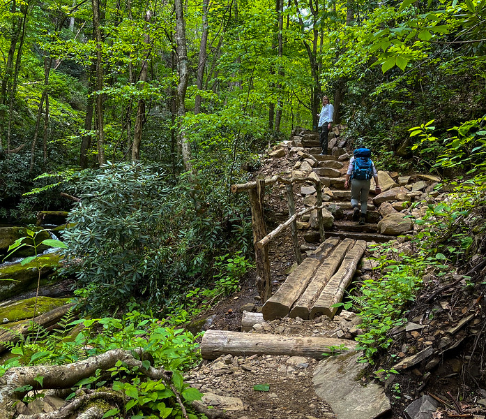Two hikers going up stone steps on trail.