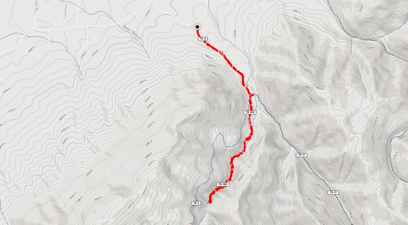 Trail map of Margarette Falls hike.