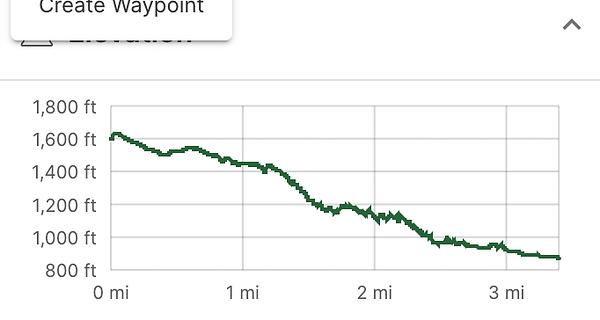 Elevation map of hike back.