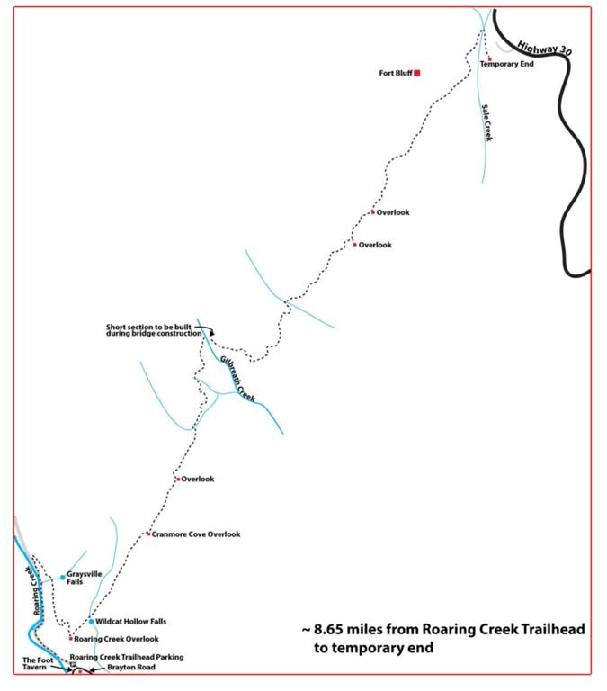 Trail map for the Roaring Creek Trailhead.