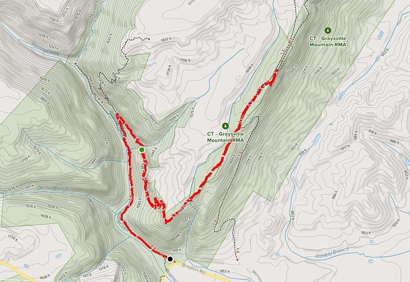 Topo map showing the roaring creek trail hike.