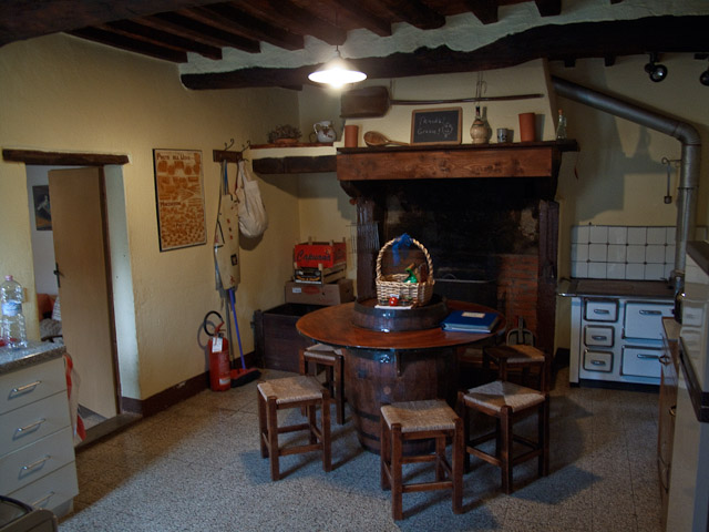 Kitchen. Has fireplace, old wood stove and modern gas stove as well as mid sized refrigerator and pantry cupboard.