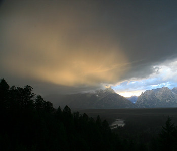 Sunset at the Snake River Overlook.  Another bad rain day.  Actually, the weather changed every few minutes.  This was the monsoon season for the Teton Range.
