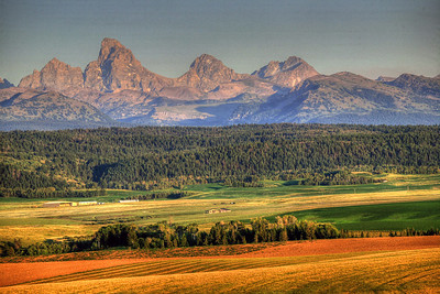 Art Wolfe Teton Workshop, August 2010.  HDR view of the Tetons from the Idaho side, near Driggs.
