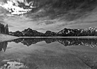 Jackson Lake, Moonlight, BW
