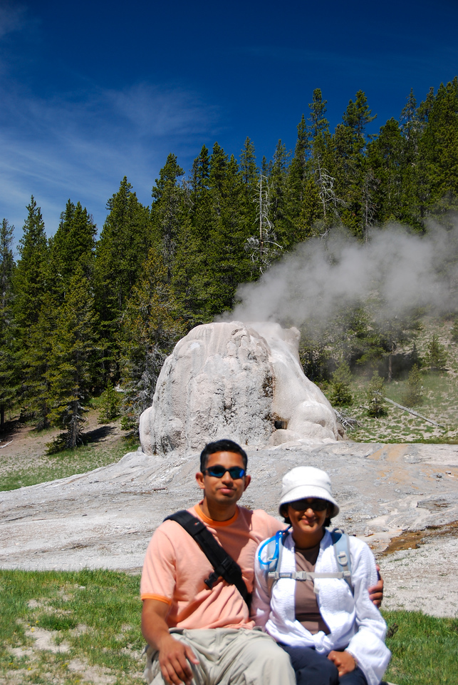 Me and Bhumisha at the Lone Star Geyser