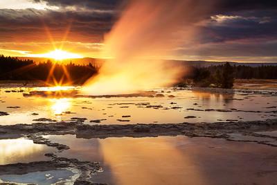 Double Sunburst at Fountain Geyser