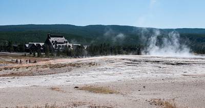 Yellowstone - geothermal with Old Faithful Inn in background