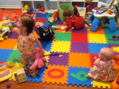 I did a terrible job taking photos at the beginning of the trip because this one is from Dallas. I got exactly two shots with all four kids. Here are Samantha, Theo, Wyatt, and Vivian in the playroom in Fort Worth, having a ball, although not exactly together.