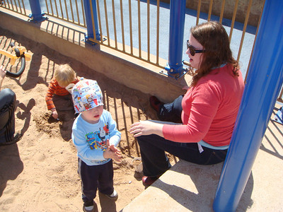 Theo in the sandbox with Auntie Blah at Zilker Park.