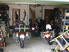 In Randy's garage.  L-R: The BatBike, Flo, Eddie (yes they're named for those guys who played with Zappa)